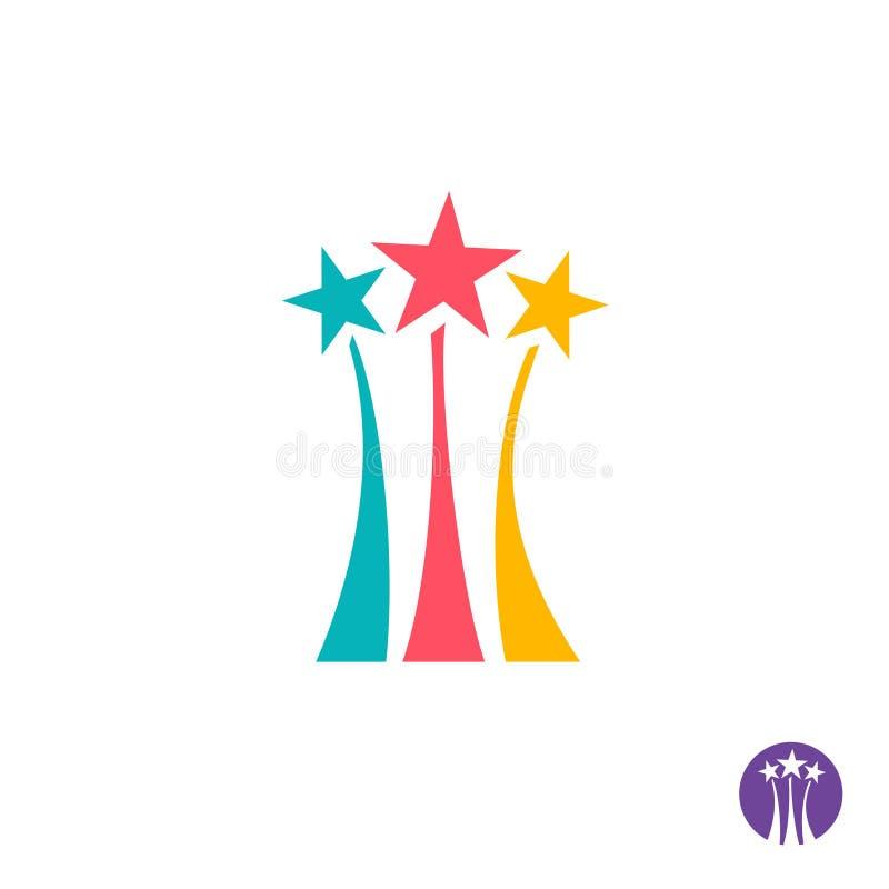 Feuerwerkslogo Zeichen mit drei Farbsternen vektor abbildung