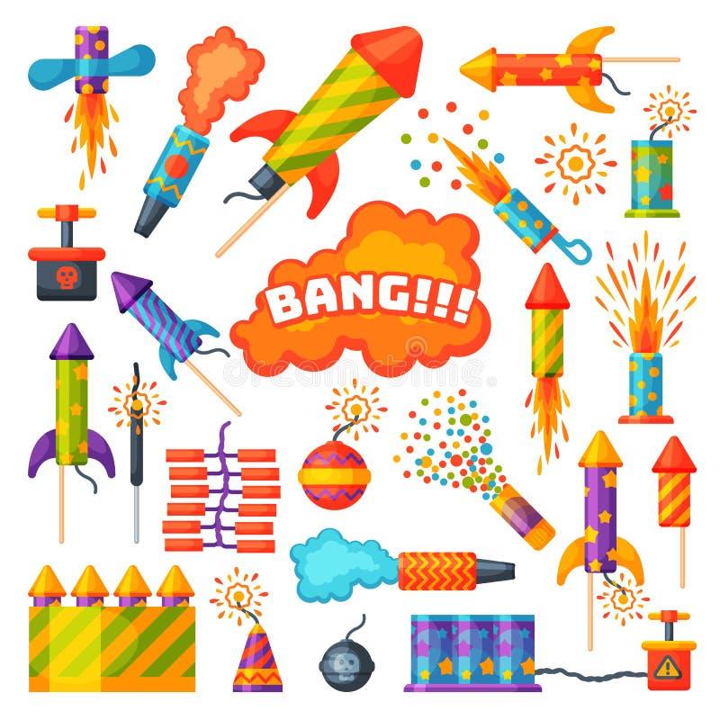 Feuerwerkspyrotechnikrakete und Prallplattengeburtstagsfeiergeschenk feiern nahtlosen Mustervektor-Illustrationshintergrund lizenzfreie abbildung