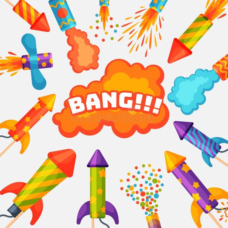 Feuerwerkspyrotechnikrakete und Prallplattengeburtstagsfeiergeschenk feiern Vektorillustrations-Festivalwerkzeuge stock abbildung
