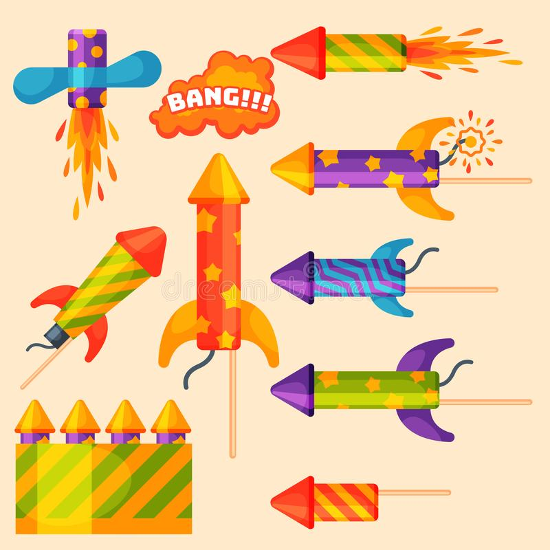 Feuerwerkspyrotechnikrakete und Prallplattengeburtstagsfeiergeschenk feiern Vektorillustrations-Festivalwerkzeuge lizenzfreie abbildung