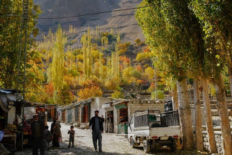 Feuillage coloré dans la saison d'automne en vallée de Nagar Gilgit baltistan, Pakistan image libre de droits