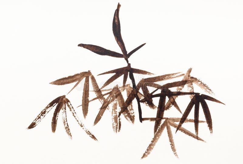 Feuillage en bambou dessiné par les aquarelles brunes illustration libre de droits