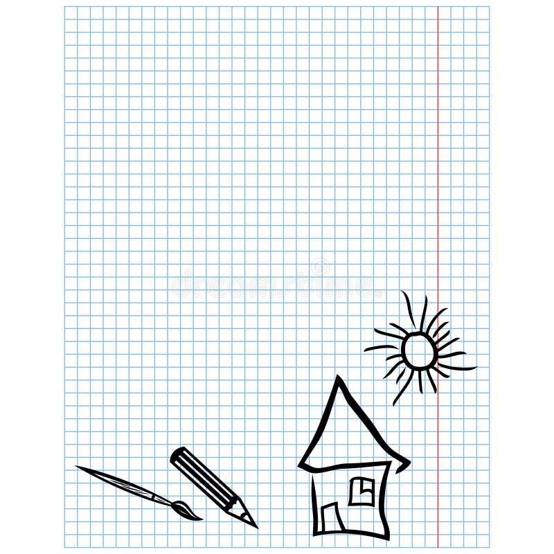 Feuille à Carreaux Avec Les Dessins Simples Illustration De
