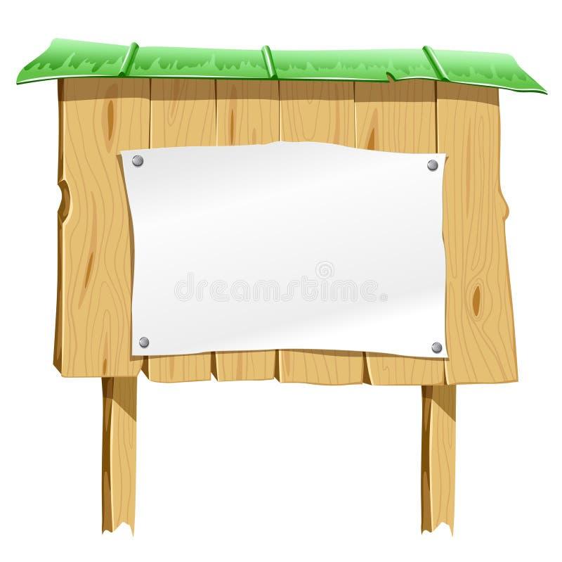 feuille blanc de papier de panneau en bois illustration stock