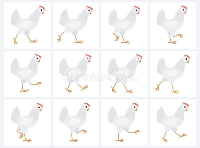 Feuille blanche de marche de lutin d'animation de poule d'isolement sur le fond blanc illustration de vecteur
