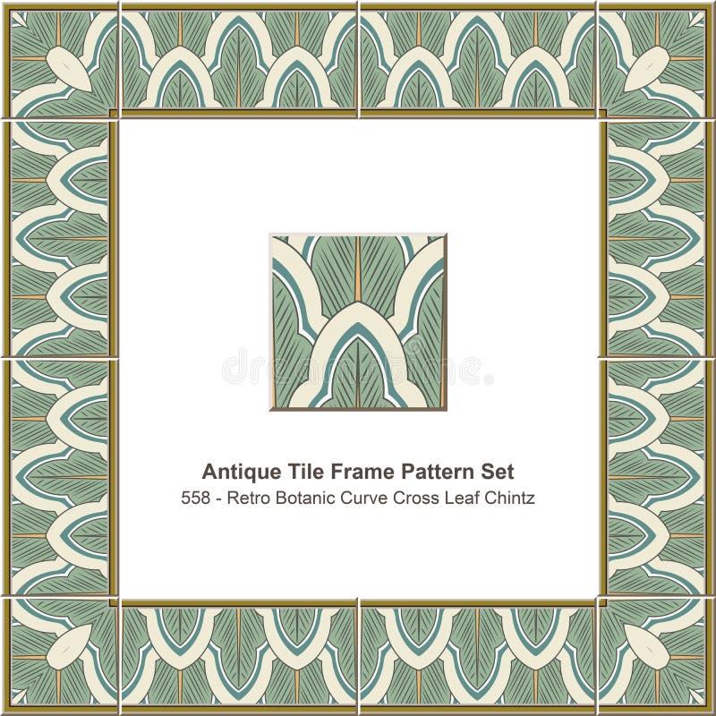 Feuille botanique réglée ch de croix de courbe de tuile de modèle antique de cadre rétro illustration libre de droits
