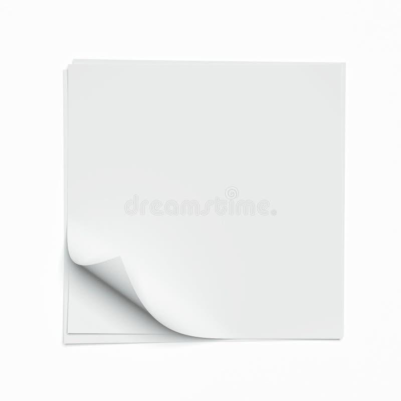 Feuille carrée avec les coins courbés illustration libre de droits
