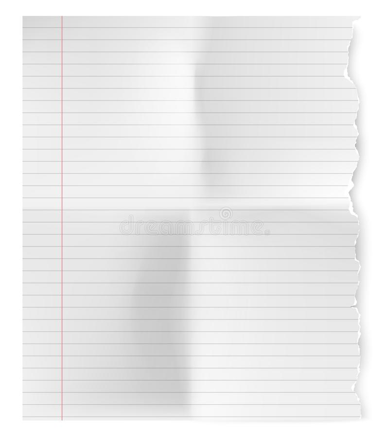 Feuille déchirée de cru réaliste de papier de carnet illustration libre de droits