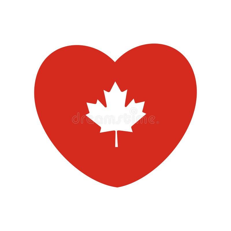 Feuille d'érable blanche de vecteur dans la forme de coeur Art de drapeau de Canada illustration libre de droits