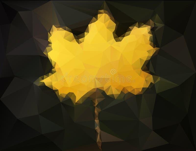 Feuille d'érable d'automne - bas poly art abstrait illustration libre de droits