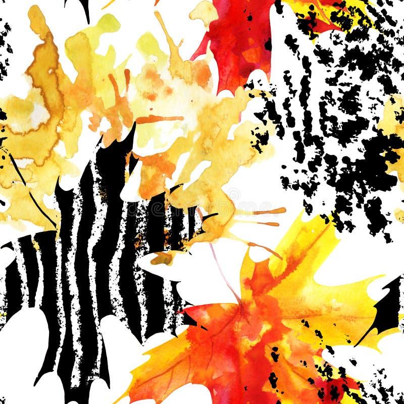 Feuille d'érable d'automne sur le fond d'aquarelle et de grunge illustration de vecteur