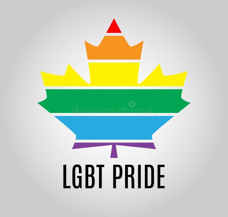 Feuille d'érable de Canada d'icône Symbole LGBT d'égalité de gays et lesbiennes d'arc-en-ciel illustration libre de droits