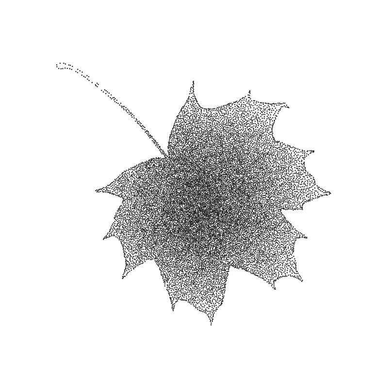 Feuille d'érable noire et blanche tramée grunge d'isolement sur un fond blanc Illustratoin de vecteur avec les points tramés illustration de vecteur