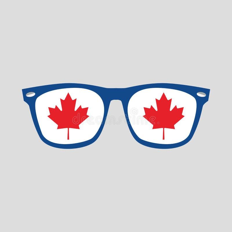 Feuille d'érable rouge canadienne se connecter l'icône bleue de lunettes de soleil de cadre sur le gris illustration libre de droits