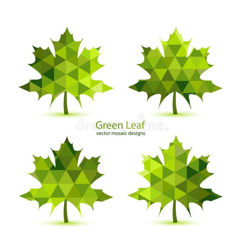 Feuille d'érable verte de vecteur de mosaïque illustration stock
