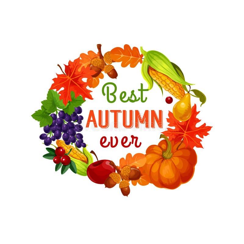 Feuille d'automne, légume de récolte et affiche de fruit illustration libre de droits