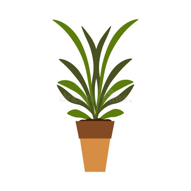 Feuille d'icône de vecteur de pot d'usine Fleur de croissance de symbole de vert de jardin Flore d'intérieur de graine d'environn illustration libre de droits