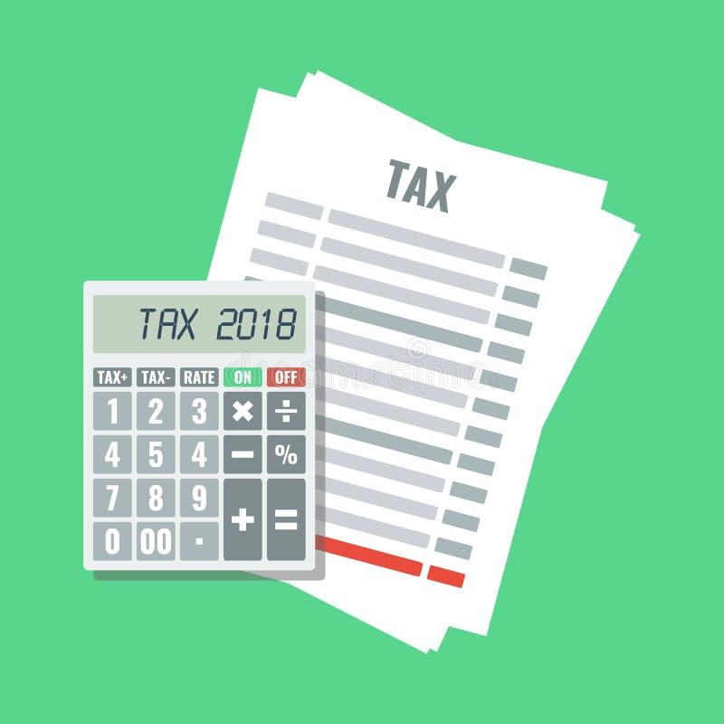 Feuille d'impôt avec la calculatrice illustration stock