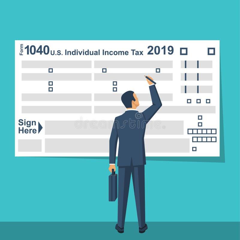 Feuille d'impôt de Fills USA d'homme d'affaires illustration libre de droits
