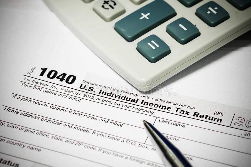 Feuille d'impôt des USA photo libre de droits