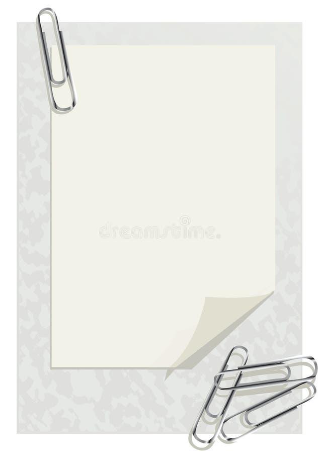 Feuille d'un papier et de clips illustration de vecteur