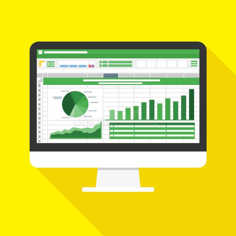 Feuille de calcul sur l'icône plate d'écran d'ordinateur Concept de rapport de comptabilité financière choses de bureau pour prév illustration de vecteur