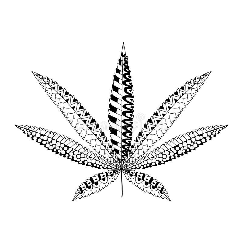 Feuille de cannabis de chanvre dans le style de zentangle silhouette d 39 ornamental de marijuana - Coloriage feuille de cannabis ...