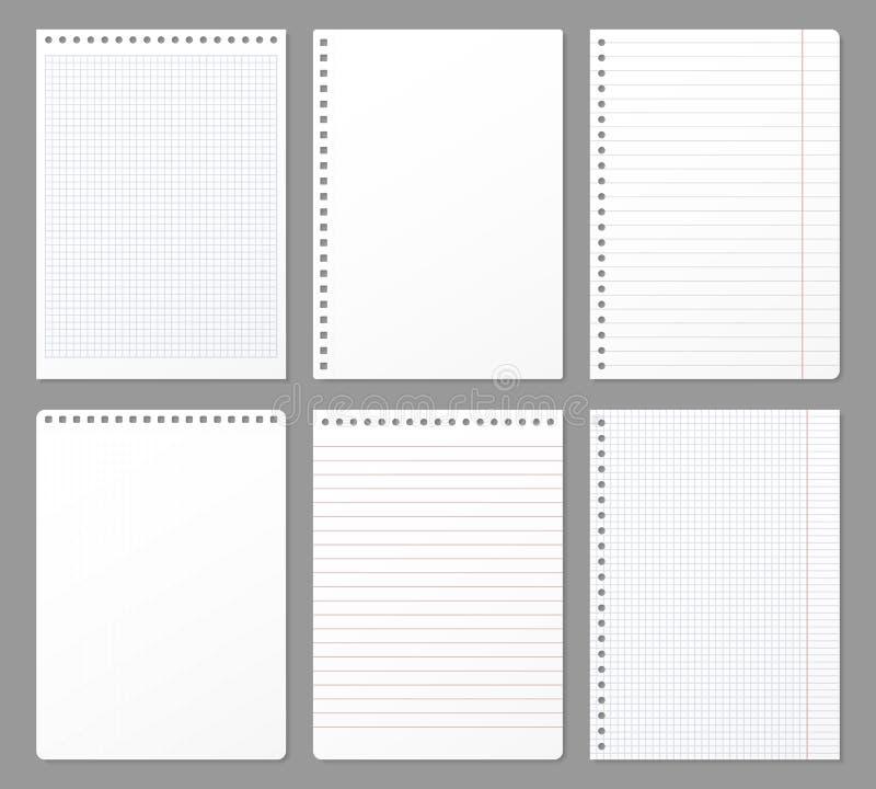 Feuille de carnet Les feuilles déchirées du carnet, note de papier ont rayé la page et le bloc-notes de cahier a capitonné l'illu illustration de vecteur