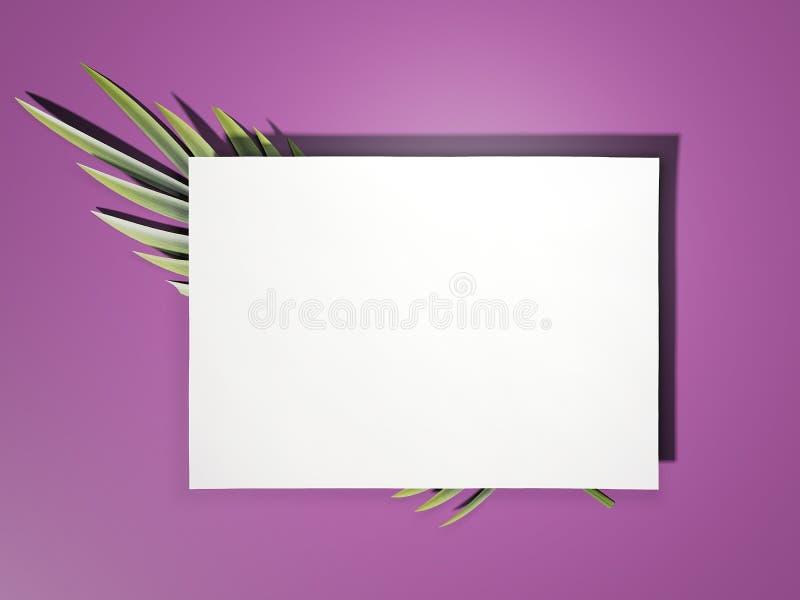 Feuille de livre blanc avec la feuille de copain rendu 3d illustration libre de droits