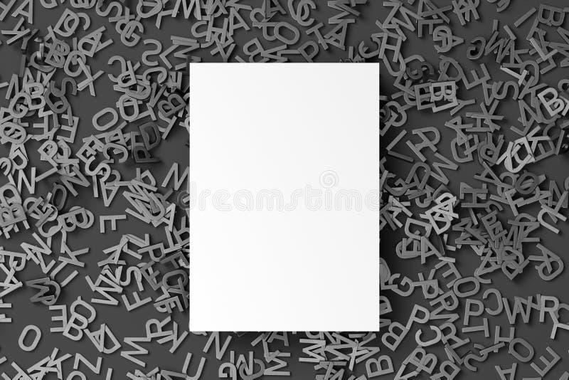 Feuille de livre blanc de blanc sur la pile des lettres grises réalistes d'isolement sur le baclground noir rendu 3d illustration stock