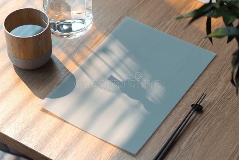 Feuille de livre blanc de blanc sur la table en bois en café asiatique de nourriture rendu 3d illustration libre de droits