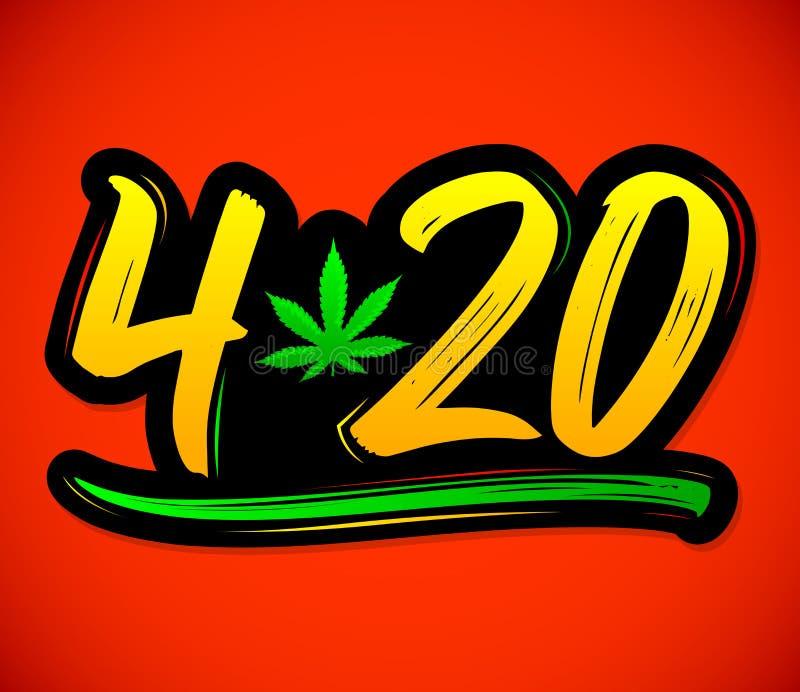 Feuille de marijuana de 4h20, conception de lettrage de vecteur de célébration de cannabis, le 20 avril illustration libre de droits