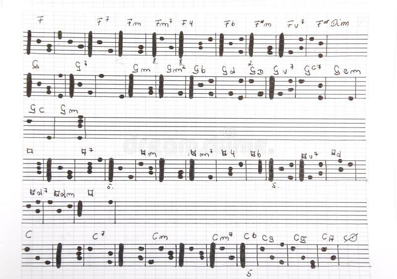 Feuille de musique manuscrite photos stock