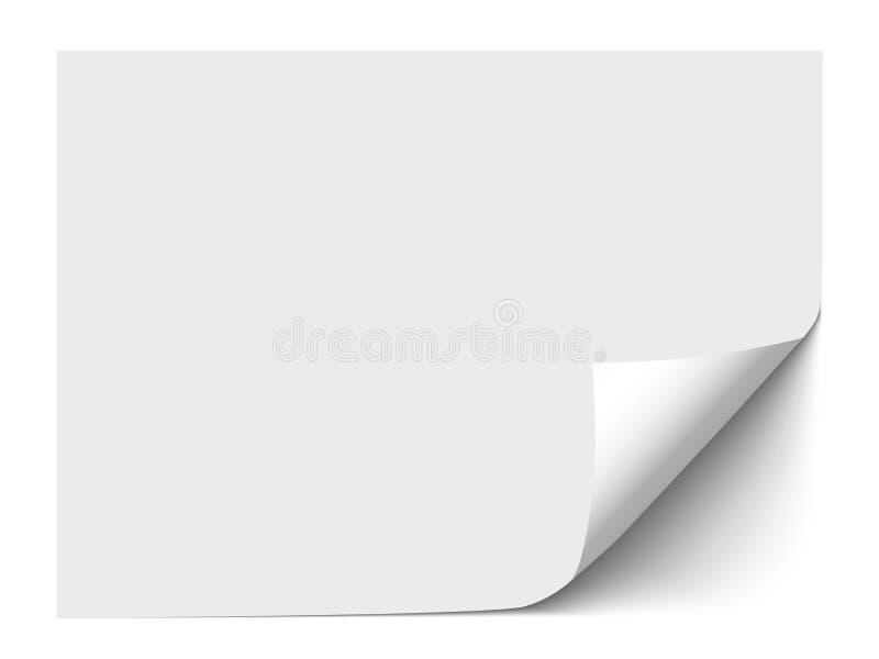 Feuille de papier avec le coin de boucle d'isolement sur le fond blanc Illustration de vecteur illustration libre de droits