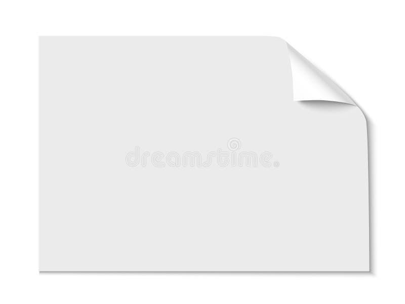 Feuille de papier avec le coin de boucle d'isolement sur le fond blanc Illustration de vecteur illustration stock