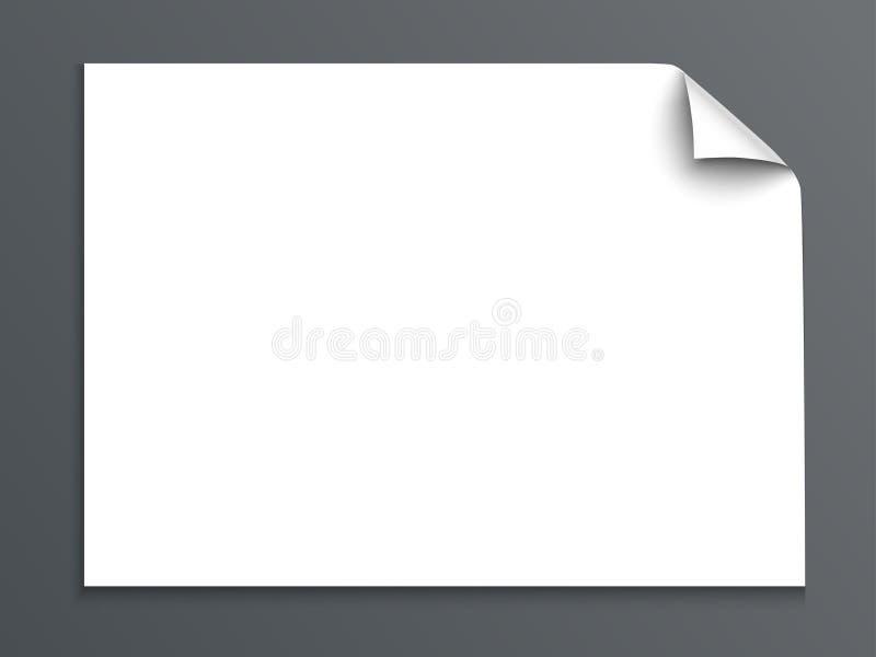Feuille de papier avec le coin de boucle d'isolement sur le fond foncé Illustration de vecteur illustration stock