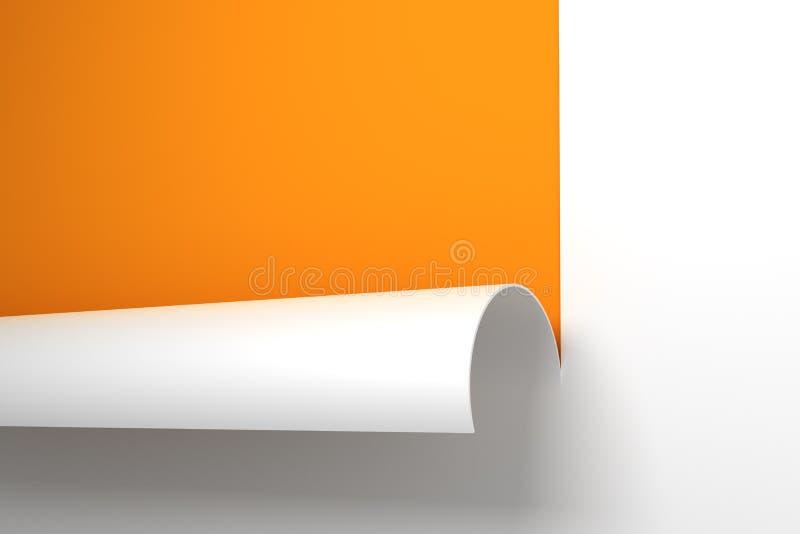 Feuille de papier avec le coin enroulé illustration stock