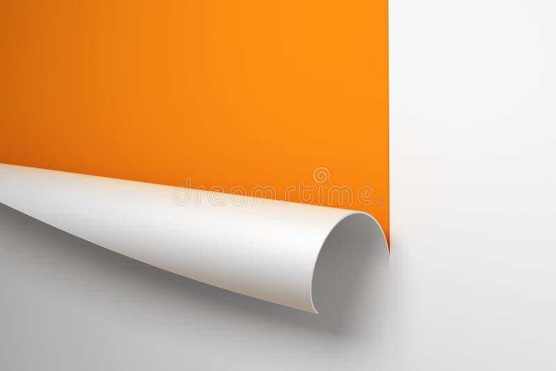 Feuille de papier avec le coin enroulé illustration libre de droits