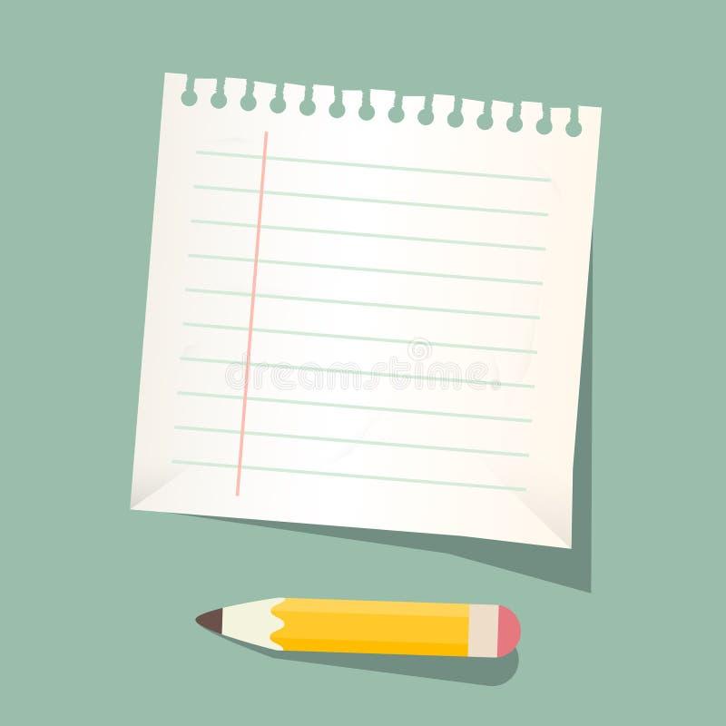 Feuille de papier avec le crayon illustration libre de droits
