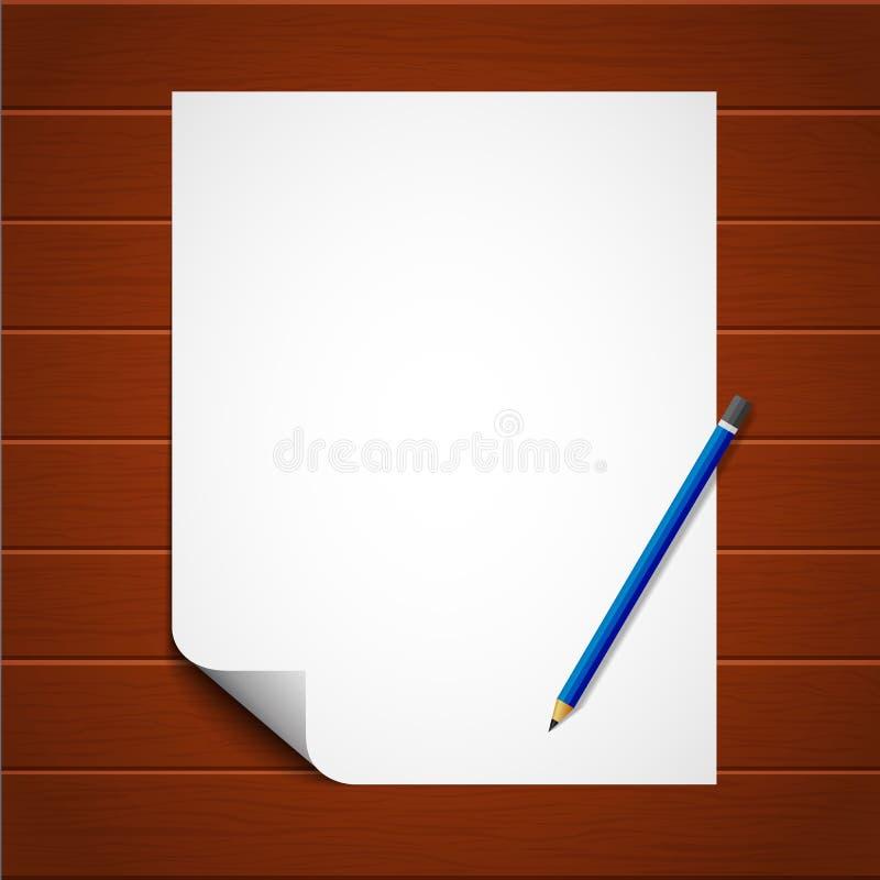 Feuille de papier avec le crayon sur le fond en bois Feuille verticale A4 avec le bord courbé Vecteur eps10 illustration libre de droits