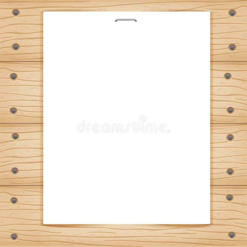 Feuille de papier blanc sur le fond en bois illustration stock