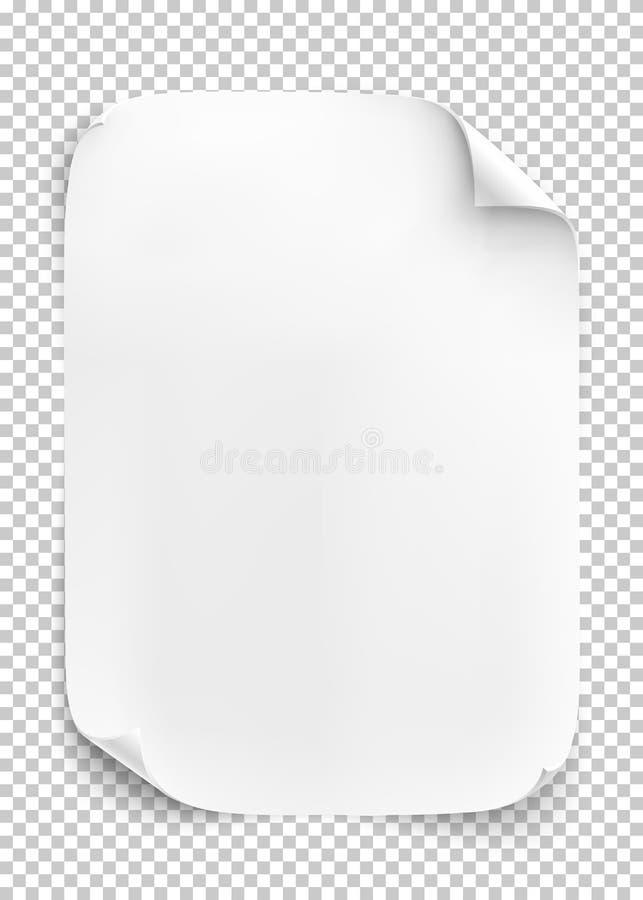 Feuille de papier blanche sur le fond transparent illustration de vecteur