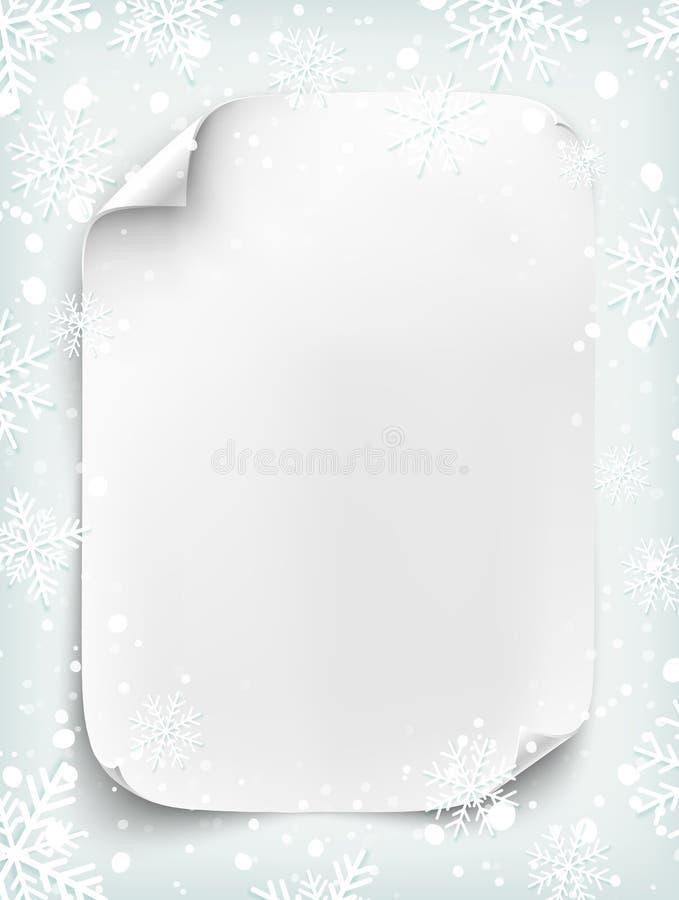 Feuille de papier blanche vide sur le fond d'hiver illustration libre de droits