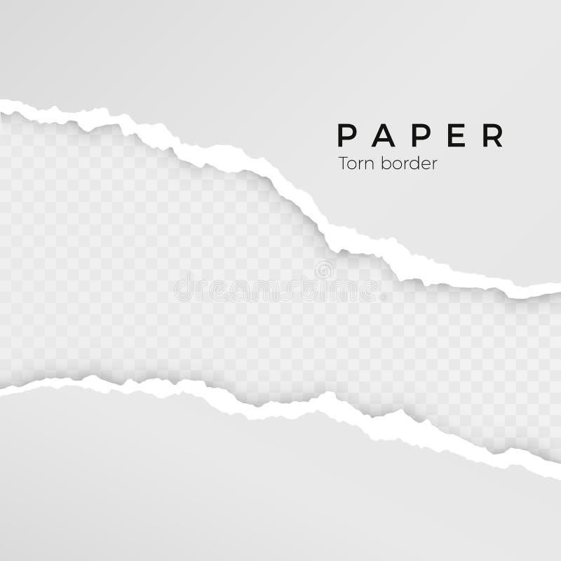 Feuille de papier déchirée Bord de papier déchiré Texture (de papier) froissée Frontière cassée approximative de la rayure de pap illustration de vecteur