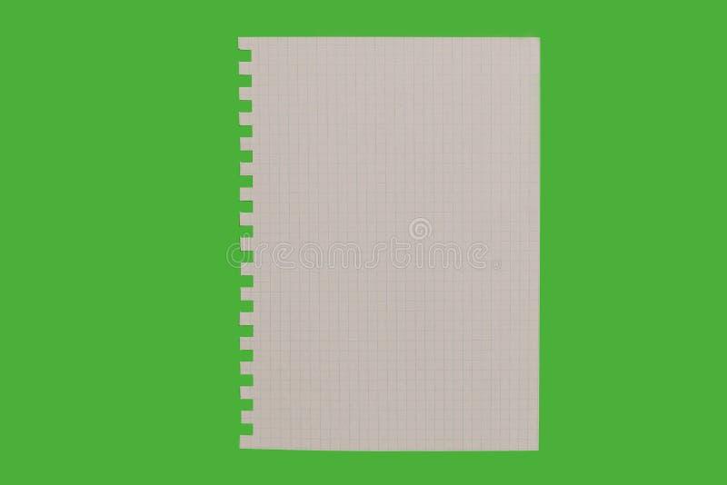 Feuille de papier d'isolement sur le fond vert images stock