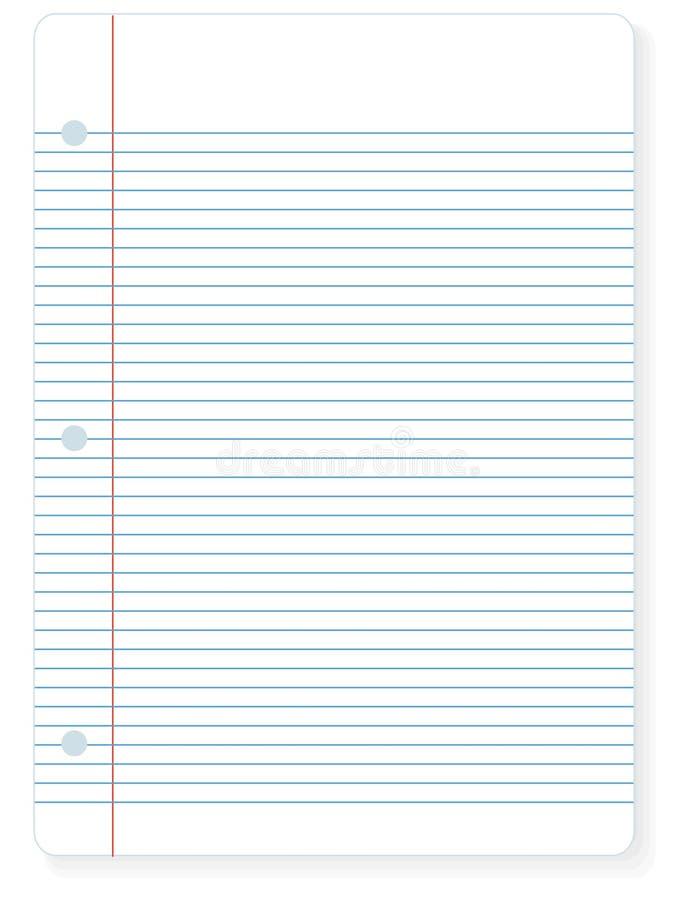 feuille de papier de cahier illustration stock
