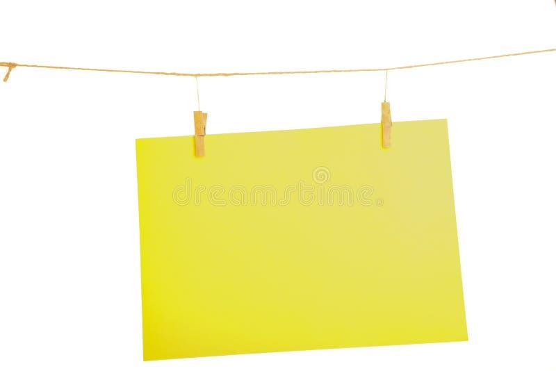 Feuille de papier jaune image libre de droits