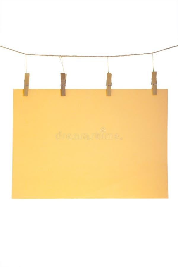 Feuille de papier orange photo stock