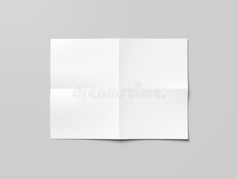 Feuille de papier pliée par blanc vide rendu 3d images stock