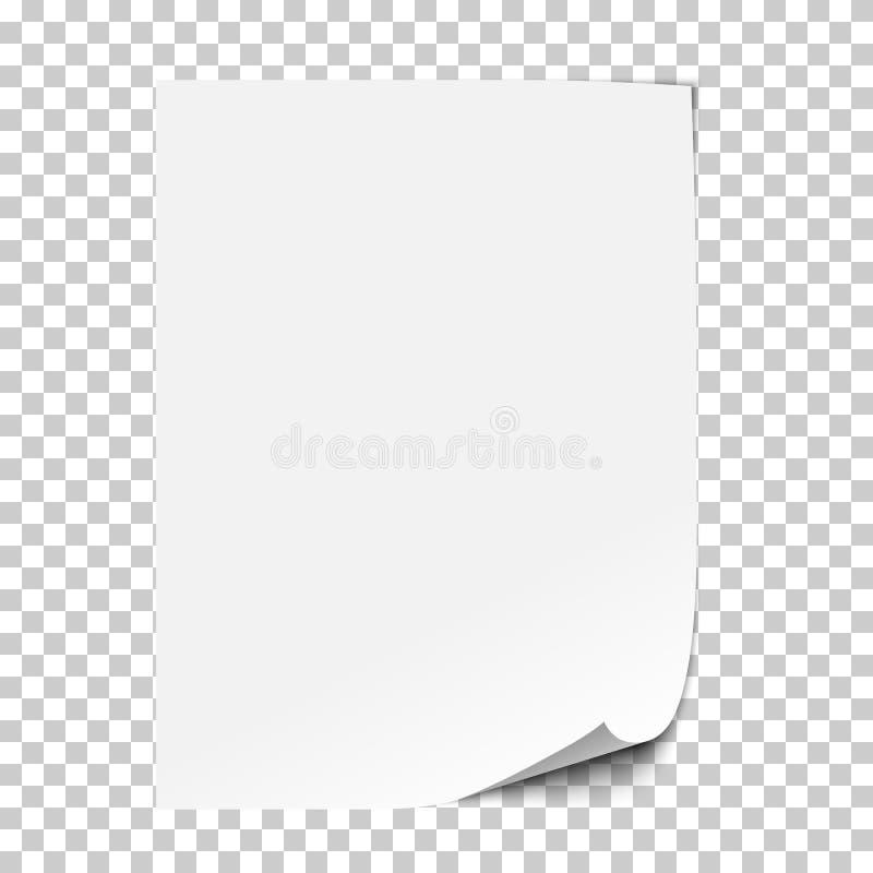 Feuille de papier réaliste de vecteur illustration de vecteur